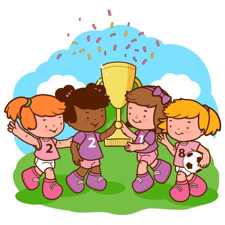 Chicas jugadores de fútbol campeones que sostienen el trofeo.