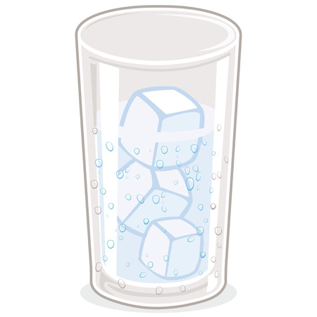 Cold glass of water with ice cubes.