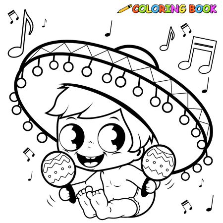 music book: Mariachi baby boy playing the maracas coloring page
