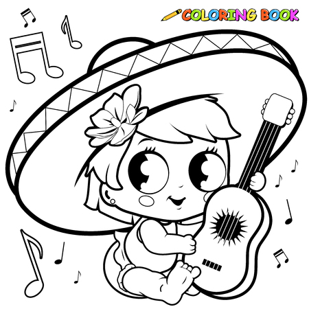 Mariachi baby girl playing the guitar coloring page Çizim