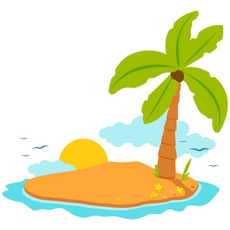 Isla Con Una Palmera De Coco, Sol Y Conchas De Mar. Página Del Libro ...