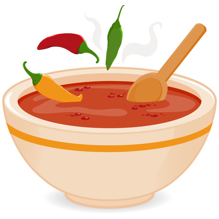 pimientos: Tazón de sopa de chile picante Vectores