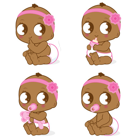 dirty girl: Cute African American baby girl Illustration