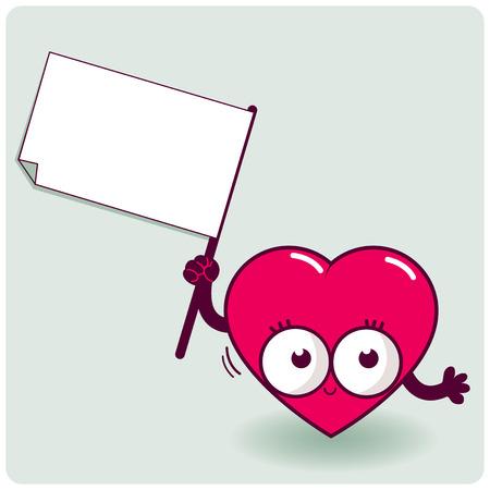 pulsating: Cartoon heart holding blank sign Illustration