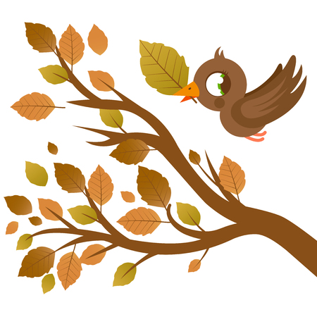 dry leaves: Cute bird in Autumn flying and tree branch with dry leaves Illustration