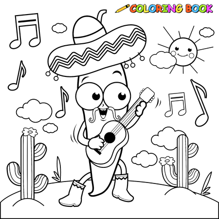 mexican cartoon: Mariachi chili pepper playing the guitar coloring page Illustration