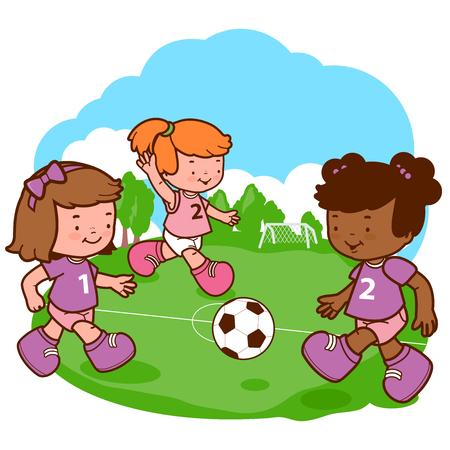 kicking ball: Girls playing soccer Illustration