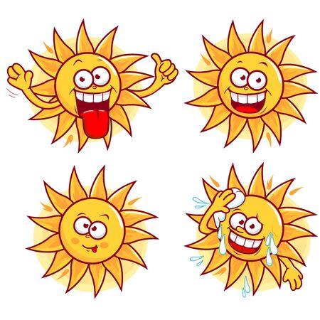 sweaty: Cartoon sun vector set Illustration