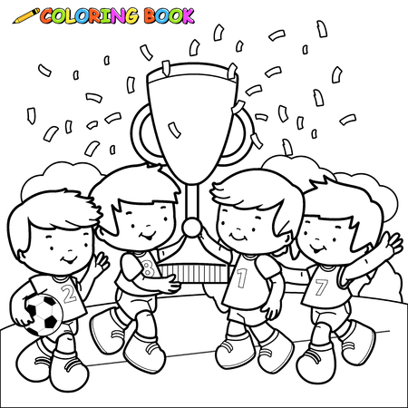 black boys: Black and white outline image of soccer player winner boys cheering and holding the cup at the football field