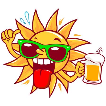 Cartoon sun with sunglasses drinking beer