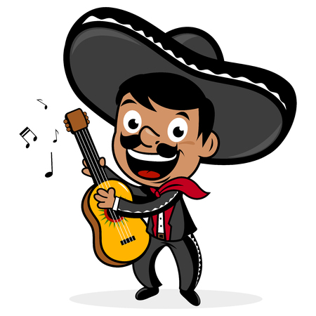 cartoon singing: Mexican mariachi man playing the guitar.