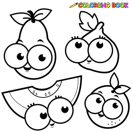 Coloring book fruit cartoon set pear fig melon orange
