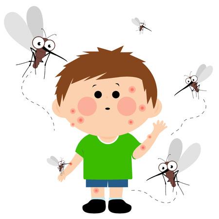 Boy bitten by mosquitoes