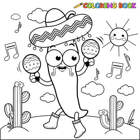 maracas: Mariachi chilli pepper with maracas coloring page