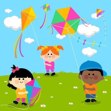 flying kites: Children flying kites. Illustration