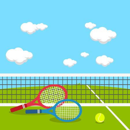 Racchette e palla da tennis in un campo da tennis Vettoriali