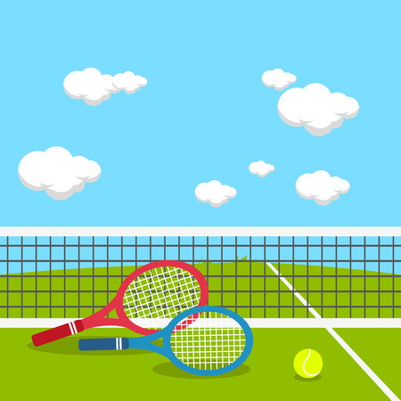 court: Rackets and tennis ball at tennis court