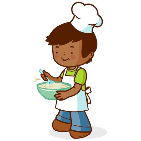 niños cocinando: muchacho africano chef de la cocina