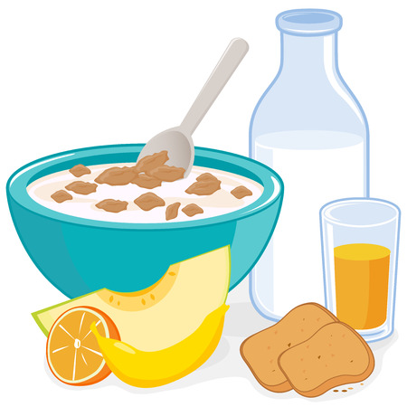 cereal bowl: Breakfast. A bowl of cereal, bottle of milk, juice, toast and fruits
