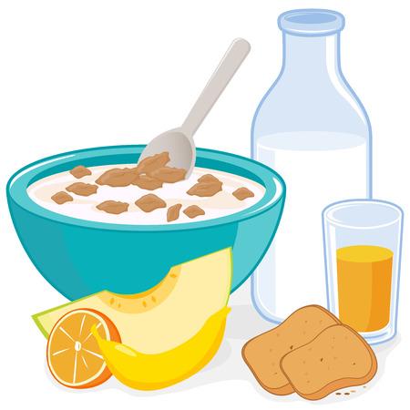 Déjeuner. Un bol de céréales, une bouteille de lait, jus, pain grillé et de fruits Vecteurs