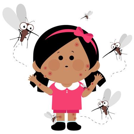 Girl bitten by mosquitoes