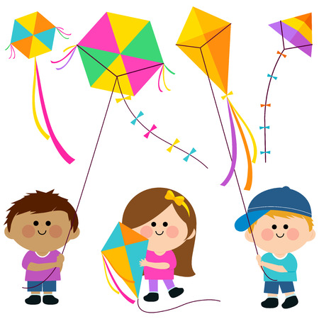 flying kite: Children flying kites Illustration