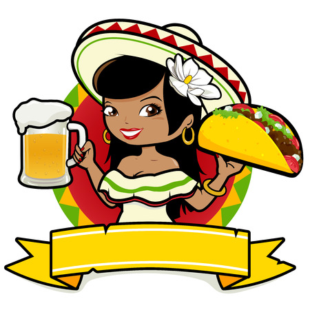 restaurant food: Mexican woman holding a cold beer and a taco