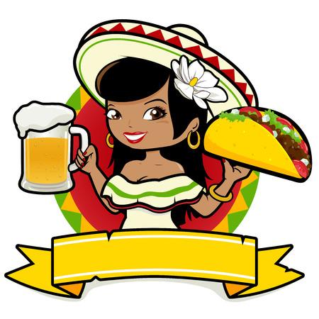 alimentos y bebidas: mujer mexicana que sostiene una cerveza fría y un taco