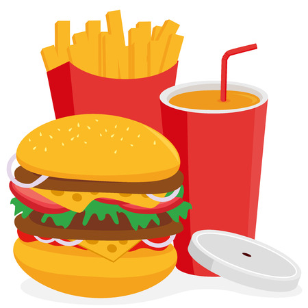 chips: Fast food hamburger, french fries and drink
