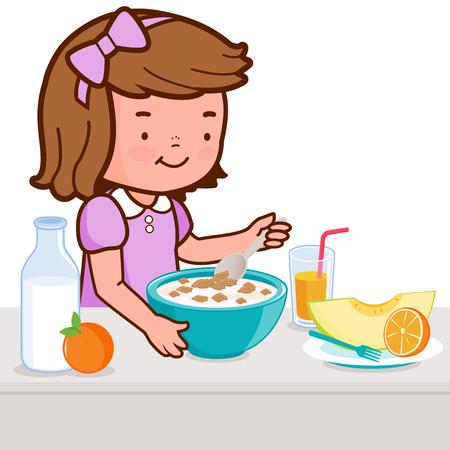 niños comiendo: Niña desayunando Vectores