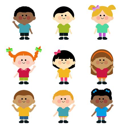 kids illustration: Group of children