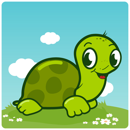 fields  grass: Cute turtle walking in the grass Illustration