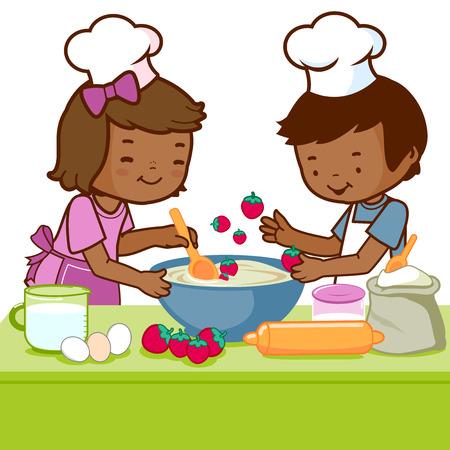 stirring: Children cooking in the kitchen Illustration