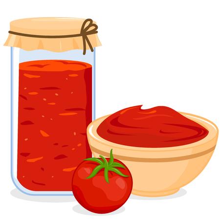 Jar and bowl of homemade tomato sauce Illustration