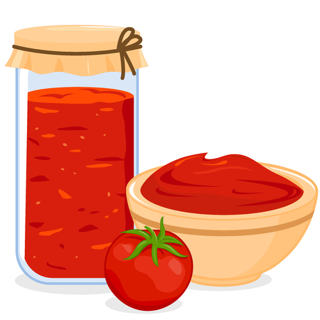 Jar and bowl of homemade tomato sauce Çizim