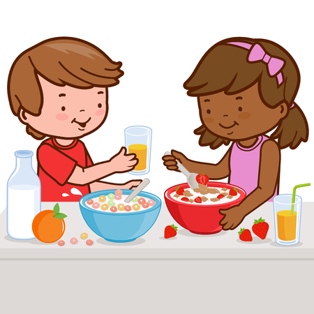children eating: Children having breakfast Illustration