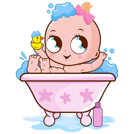 Baby girl taking a bath