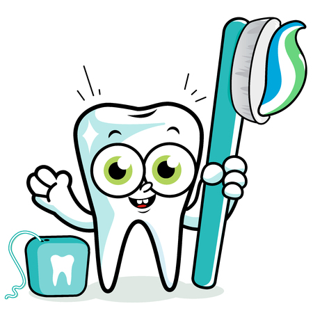 floss: Tooth cartoon character holding toothbrush and dental floss