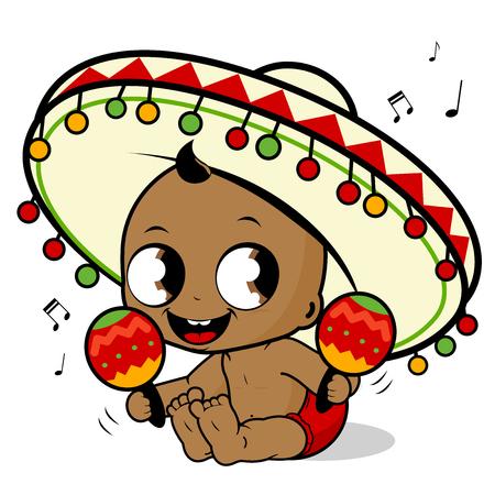 hispanic boy: Mariachi baby boy playing the maracas