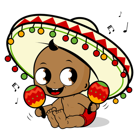 Mariachi baby boy playing the maracas