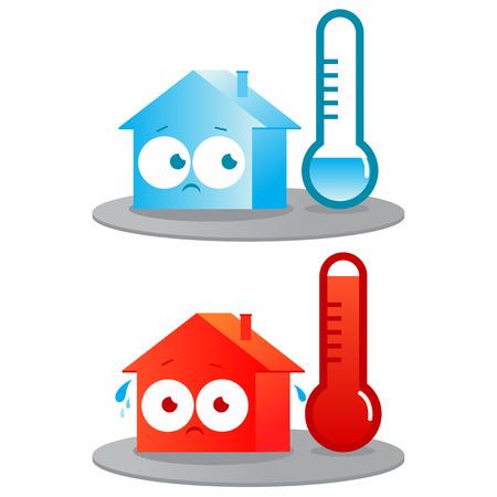 sudando: Una casa muy caliente y fría Vectores