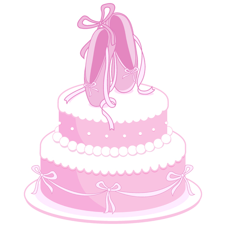 decorated cake: Pink birthday cake decorated with ballet shoes, pearls and ribbons Illustration
