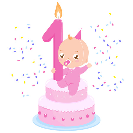 first birthday: Baby girl on a birthday cake celebrating her first birthday throwing confetti.