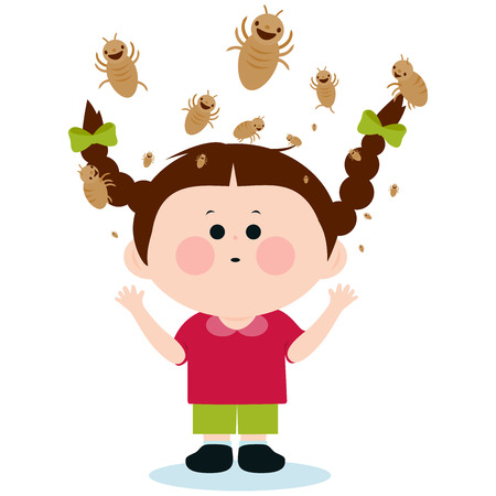 Girl with lice 일러스트