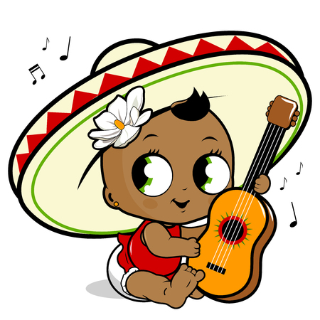 mariachi: Mariachi baby girl playing the guitar Illustration