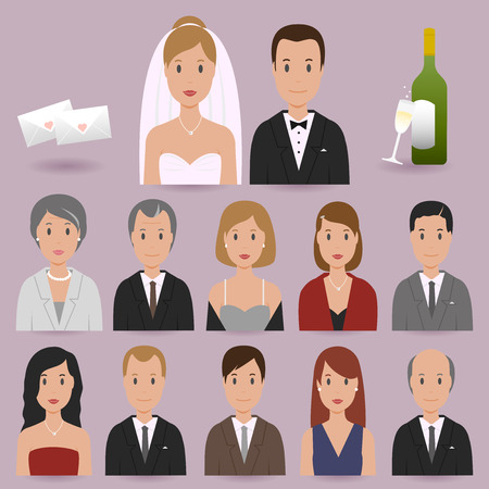 Bride, groom and wedding guests icons