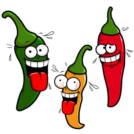 Cartoon hot jalapeno chili peppers. Illustration