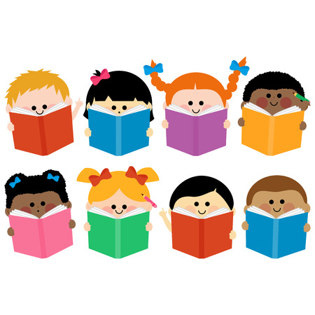 multi racial: Children reading books