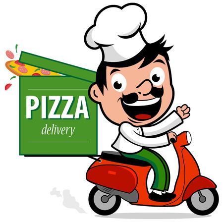 chef de entrega de pizza en scooter de Ilustración de vector