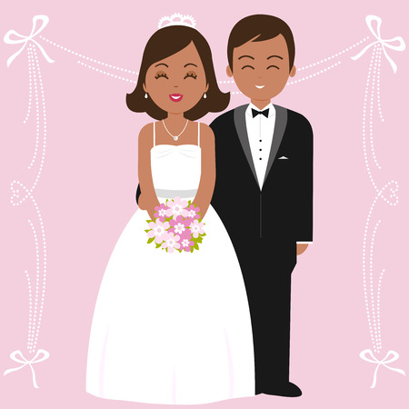 African American wedding couple: a bride and a groom Illustration